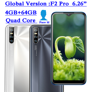 F2 Pro Smartphones 4GB RAM 64GB ROM Android Water Drop Screen 6.26inch Face unlocked Quad Core Mobile Phone 13MP Cheap Celulares