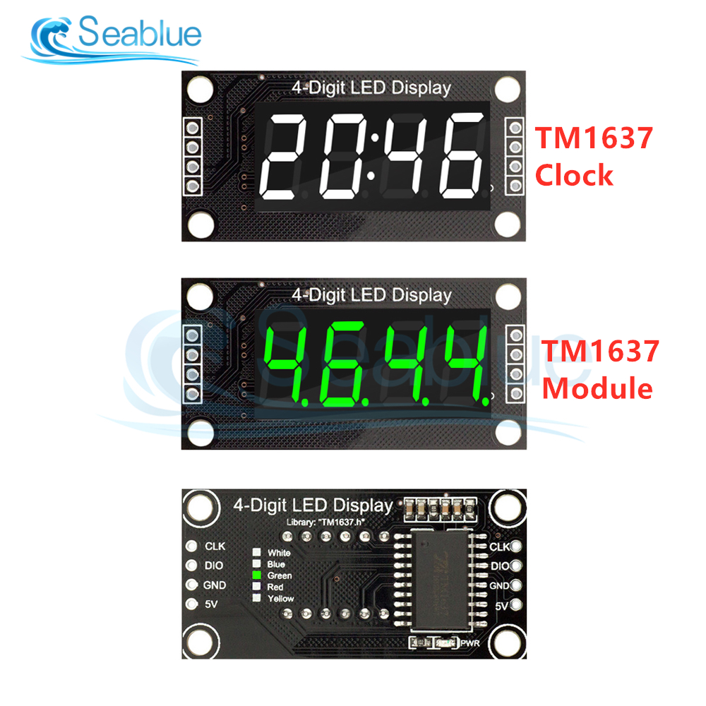 "TM1637 0.36"" 0.36 Inch 7 Segments Digital Display Tube 4-Digit Clock LED Module Board For Arduino Red Green Blue Yellow White"