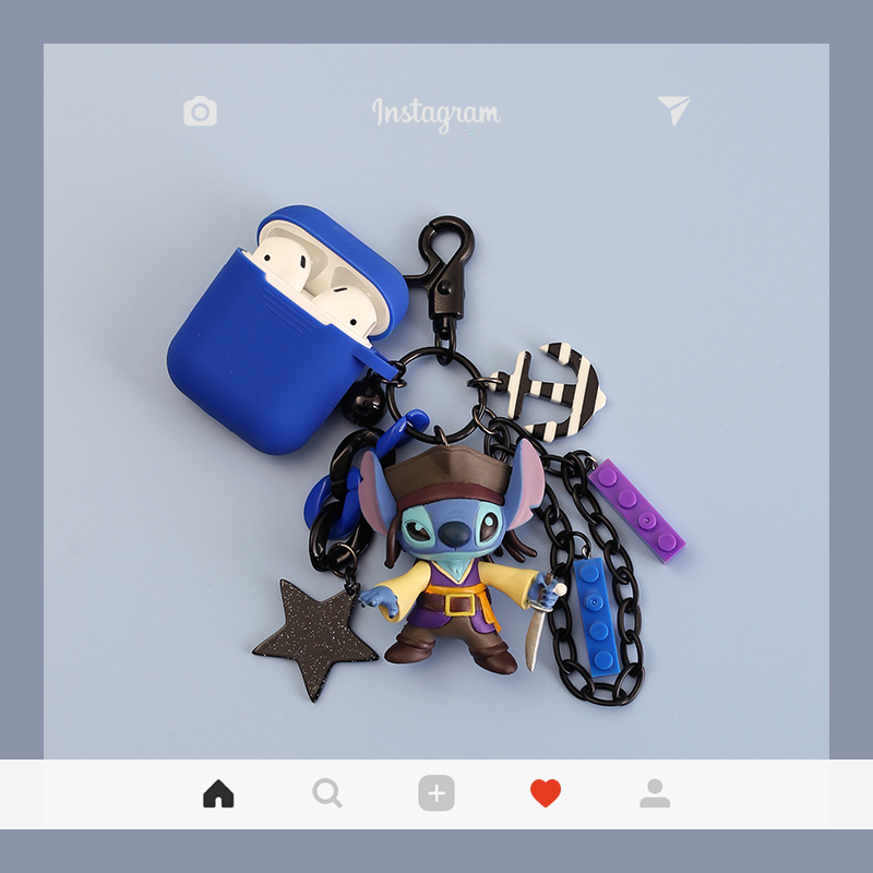 Pirate Lilo & Stitch Doll Keychain Figure Doll Toy Keychain Pendant for Women Bag Charms Jewelry Air Pods Earphone Case Keyring