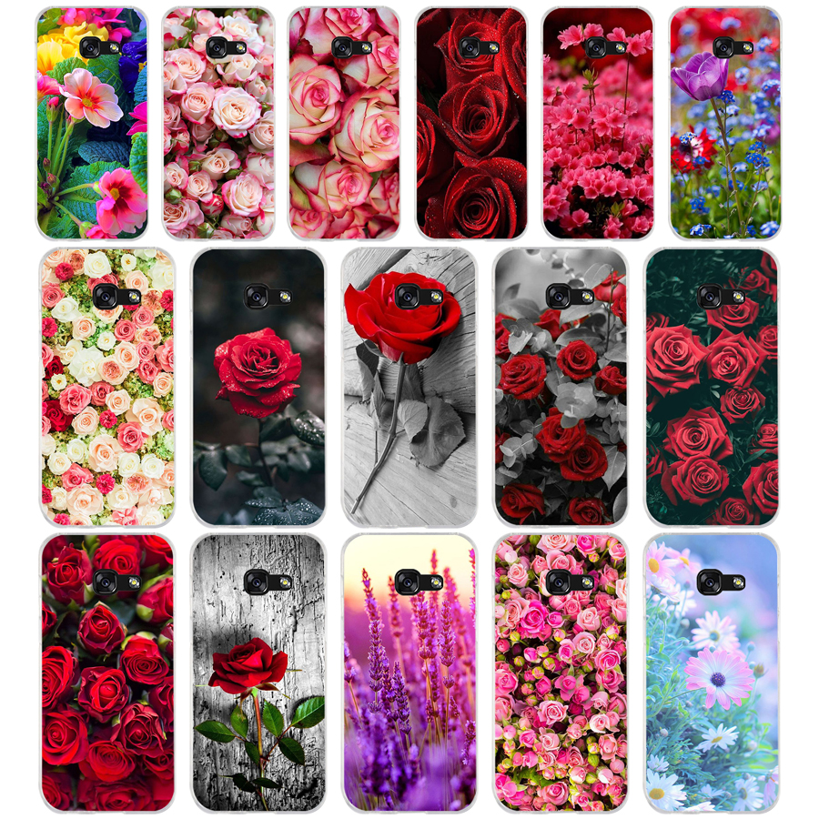 403WE Beautiful Garden Red Roses Soft Silicone Tpu Cover <font><b>phone</b></font> <font><b>Case</b></font> for <font><b>Samsung</b></font> <font><b>A3</b></font> A5 2016 <font><b>A3</b></font> A5 <font><b>2017</b></font> A7 A8 2018 A50 image