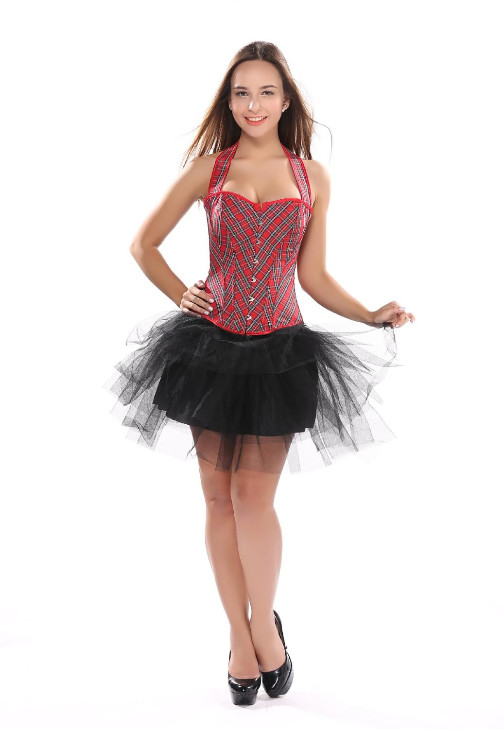 Fashion Red Plaid   Corset   Sexy Women   Bustier     Corset   With Strape Waist Sexy Corselet Overbust Halter   Corsets   Club Korset