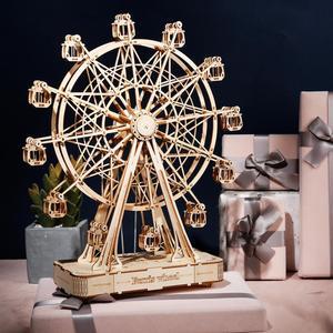 Robotime 232 stücke Drehbare DIY 3D Riesenrad Holz Puzzle Spiel Montage Musik Box Spielzeug Geschenk für Kinder Teens Erwachsene TGN01