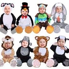 Umorden trajes de halloween criança infantil animais do bebê tigre leão panda coelho coruja pinguim traje cosplay para o bebê menina menino