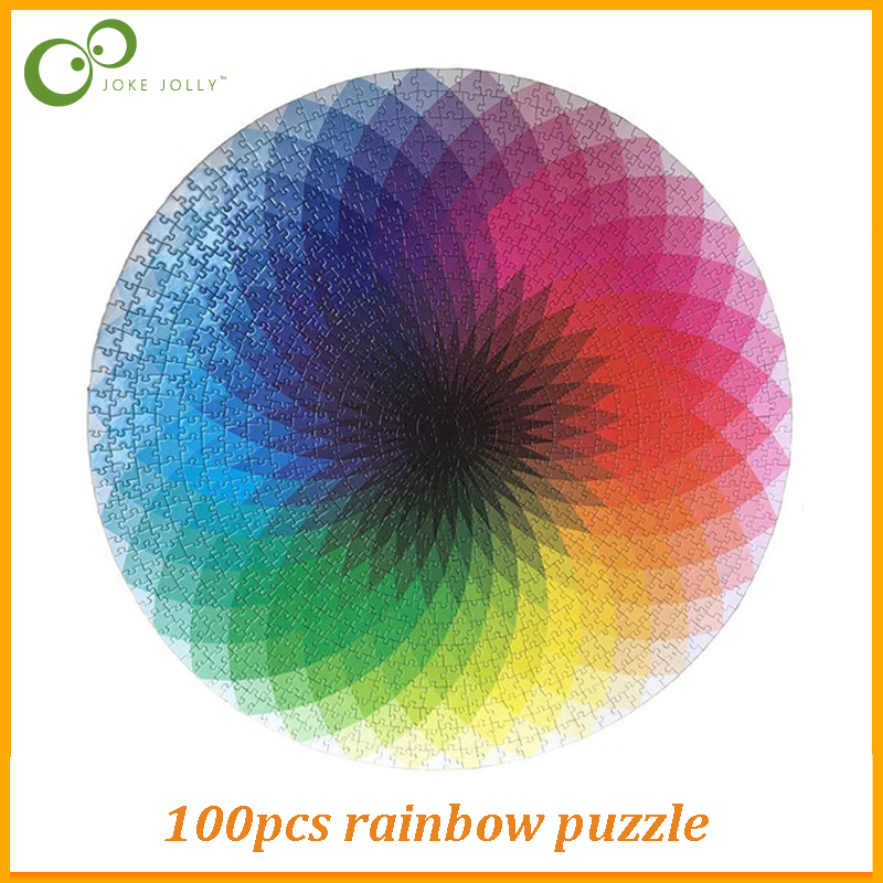 500 1000 Pcs Puzzles Round Jigsaw Puzzles Rainbow Palette Intellectual Game For Adults and Kids Children