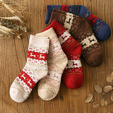 5 PCS Women Sock Winter Warm Christmas Gifts Stereo Socks Soft Cotton Cute Santa Claus Deer Xmas