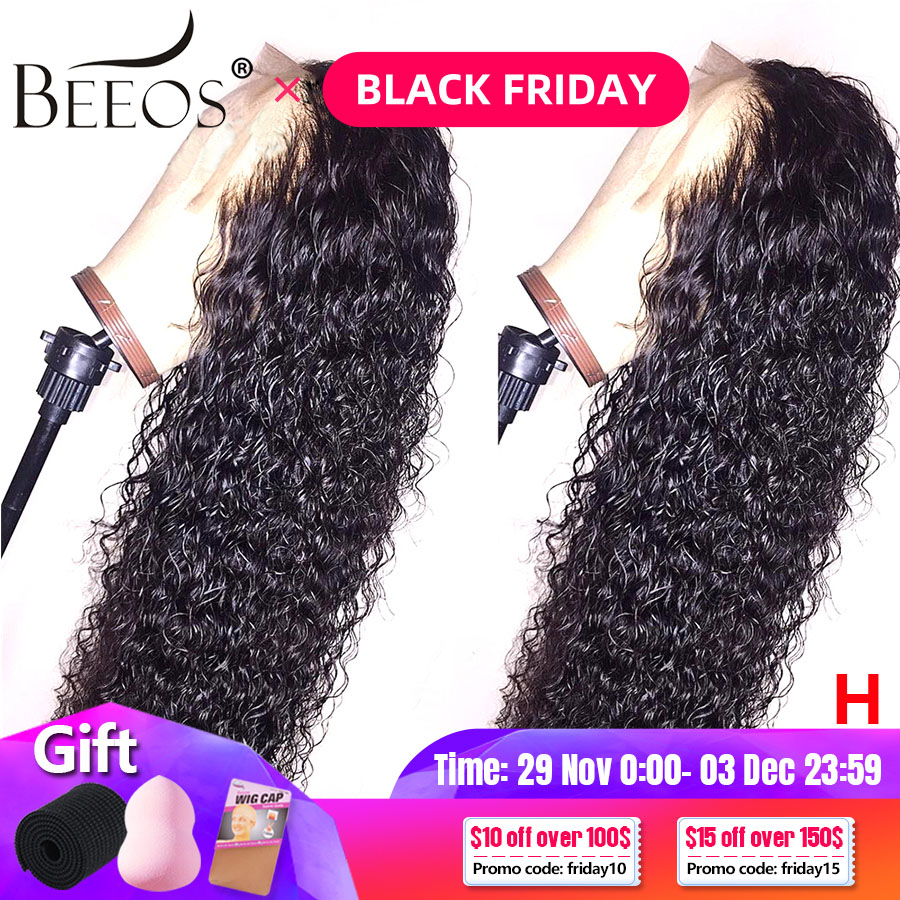 PrePlucked 13x6 Deep Part Lace Front Curly Human Hair Wigs 180 Black Bleached Knots Peruvian Fake Scalp Remy Hair Wigs For Women