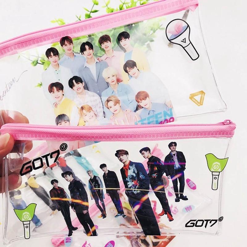 New Kpop BLACKPINK GOT7 TWICE TXT SEVENTEEN Transparent Storage Bag Pink Pencil Case Size 19.5*10*2CM Hot Sale