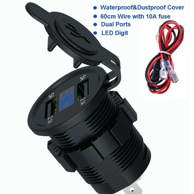 Cargador USB Dual encendedor toma de corriente 4.2A con voltímetro y cable en línea 10A fusible para coche 12-24V barco motocicleta