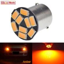 Lâmpada led âmbar amarelo laranja bau15s, 1 peça, 7507 py21w 1156py 12v, para carro, sinal de seta dianteira leve estilizando