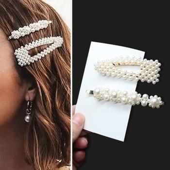 1Set Handmade Pearls Hair Clips Pin for Women Fashion Geometric Flower Barrettes Headwear Girls Sweet Hairpins Hair Accessorie 4