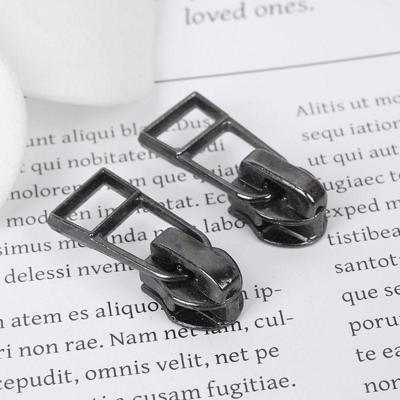 10Pcs/Set 10Pcs/Set 10mm Glitter Gun Black Universal Metal DIY Fix Zipper Puller Repair Kit Replacement Slider Hollow Fastenings