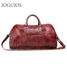 цена на JOGUJOS Genuine Leather Men Duffel Bag Men's Handbag Travel Bag Luggage Shoulder Bag Vintage Design Duffle Bag Weekend Tote Men