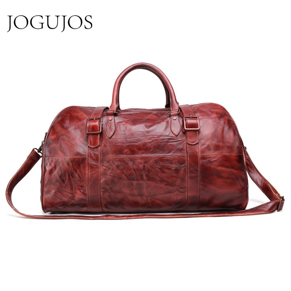 JOGUJOS Homens Duffel Bag dos homens de Couro Genuíno Bolsa Saco Saco de Viagem Bagagem Bolsa de Ombro Projeto Duffle Bag Weekend Tote Do Vintage homens