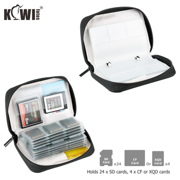 28 Slots Memory Card Case Holder Storage Pouch Bag for 24 SD SDHC SDXC 4 CF XQD Cards for Sony Canon Nikon Fuji DSLR SLR Camera