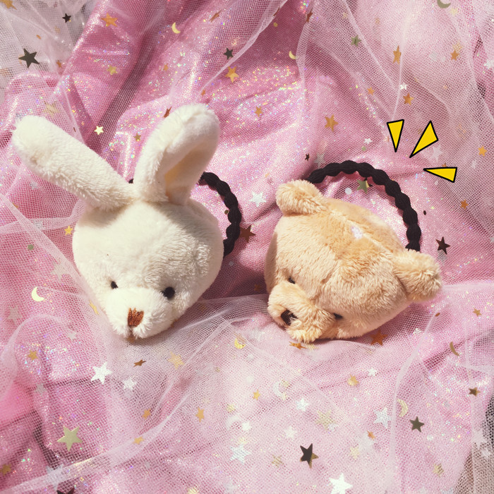 1PCS New Cute Rabbit Bear Head Children Hair Ropes Elastic Rubber Hair Band Girls Hair Accessories Baby Headwear Kids Headdress