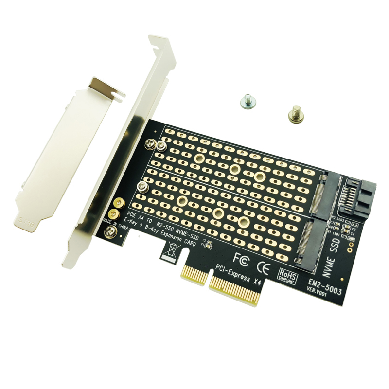 M.2 NVMe SSD NGFF TO PCIE X4 Adapter M Key B Key Dual Interface Card Support PCI Express 3.0 2230 2242 2260 2280 Size M2 SSD NEW
