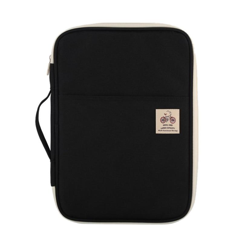 A4 Document Storage Bag Waterproof Oxford Cloth Multifunctional Business Organizer Bag File Folder Stationery Organizer Zipper