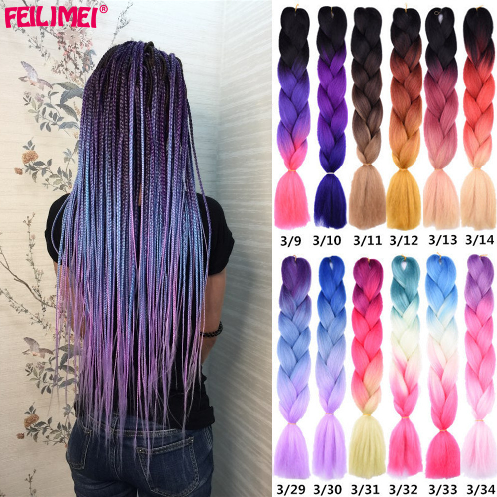 Feilimei Three/Two Tone Synthetic Ombre Jumbo Braiding Hair Extensions 24