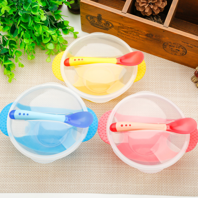 3Pcs/set Baby Learning Dishes With Suction Cup Kids Safety Dinnerware Assist Bowl Temperature Sensing Spoon Fork Bowl