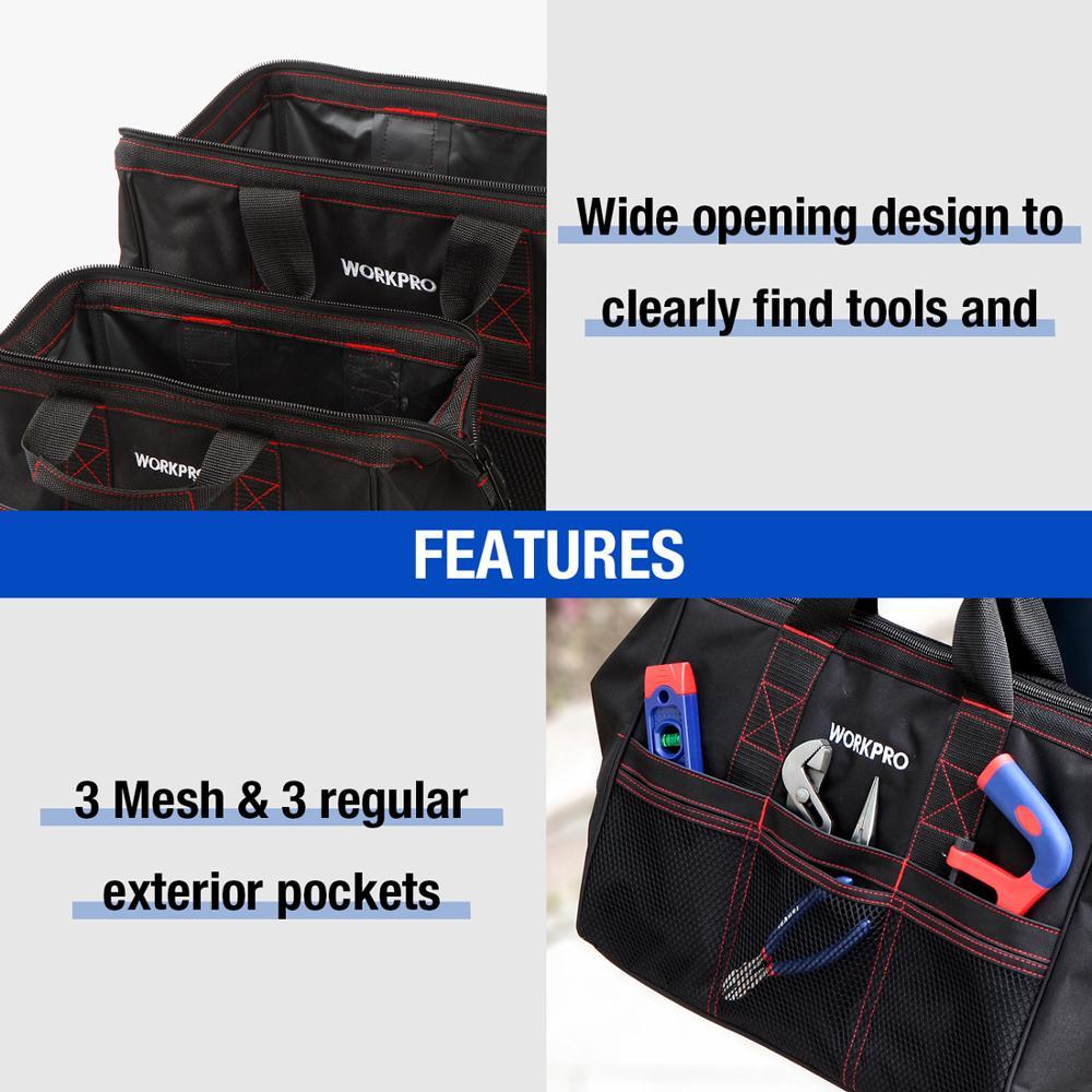 """Image 4 - WORKPRO сумка для инструментов из 2 предметов, набор инструментов 13 """"и 18"""", водонепроницаемые дорожные сумки, прочные сумкиstorage artworkstorage canvas bagsstorage pen  АлиЭкспресс"""