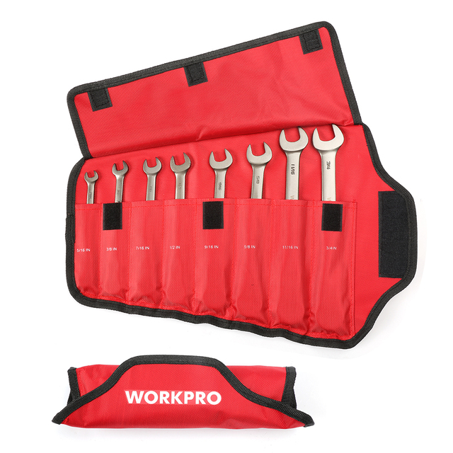 WORKPRO 8PC Wrench Set Flex-head Ratcheting Combination Wrenches Metric/SAE Ratchet Spanners Set Car Repair Tools 2