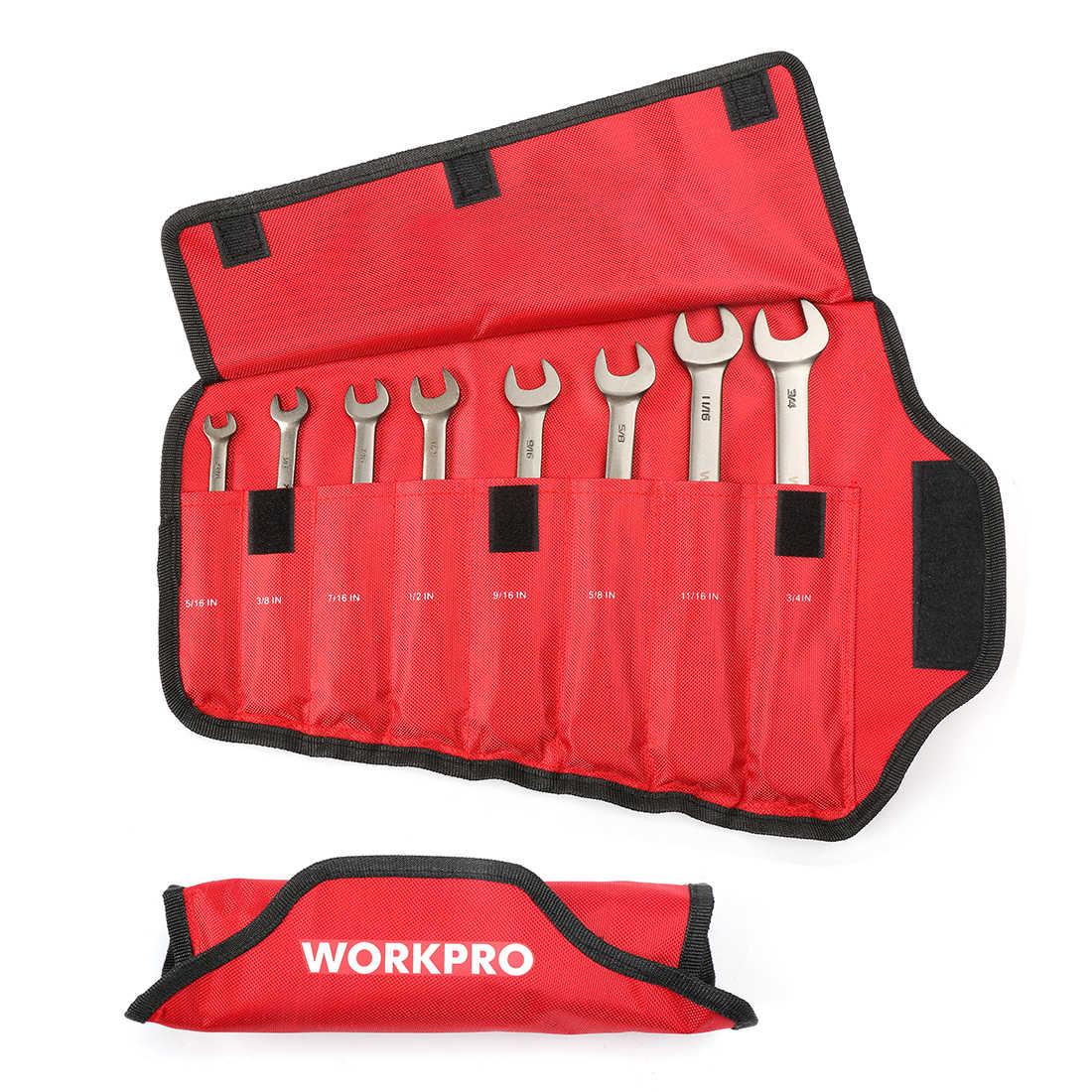 WORKPRO 8 قطعة مجموعة مفاتيح ربط الرأس المرن مجموعة مفاتيح الربط متري/SAE اسئلة المفكات مجموعة أدوات إصلاح السيارات