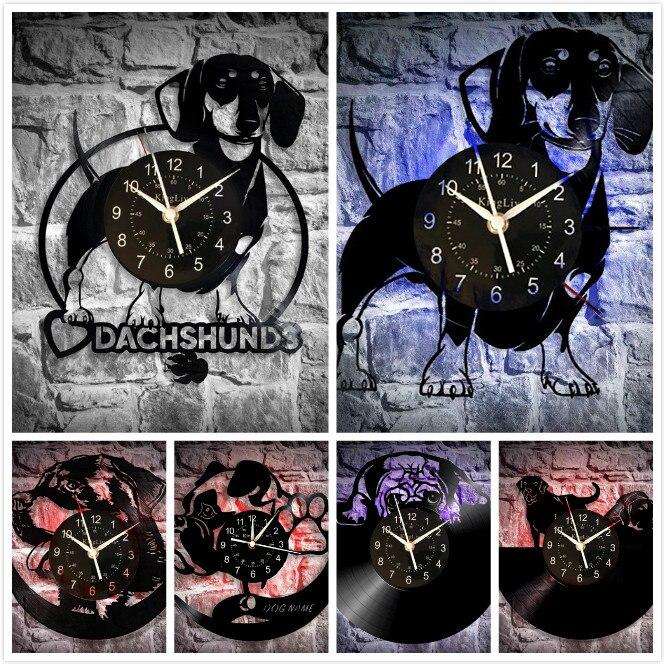 Виниловые настенные часы для собаки, подарок для мамы, дедушки, папы или друзей, украшение для кухни, гостиной, щенка, животного Настенные часы      АлиЭкспресс