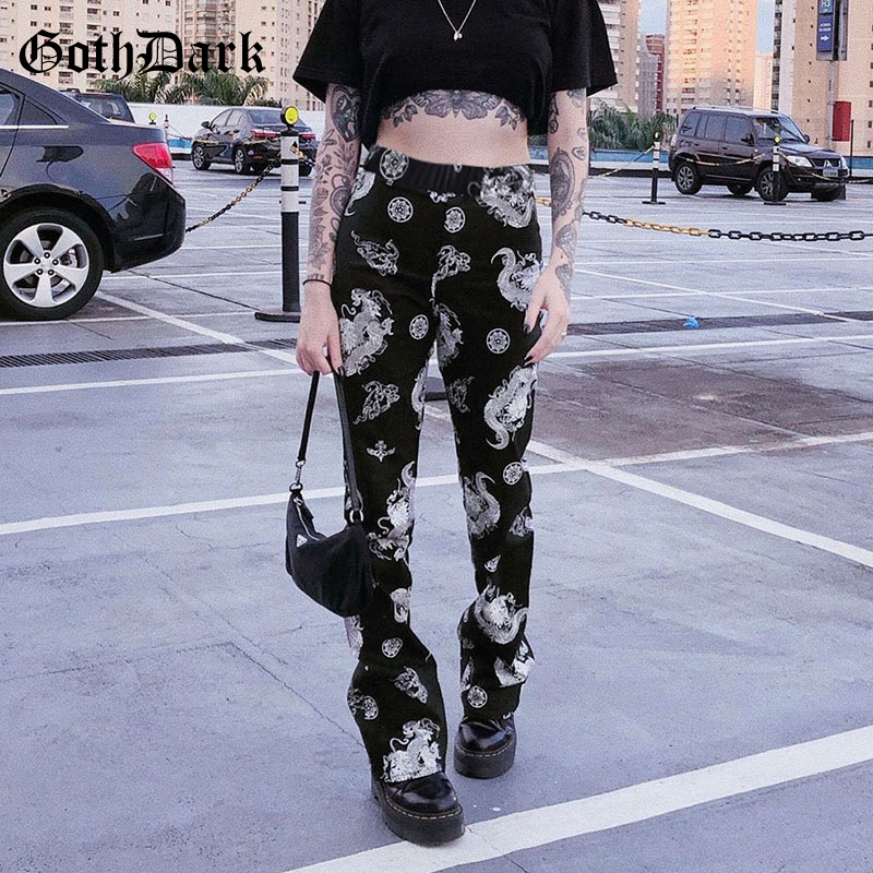 Goth Dark Sexy High Waist Dragon Print Pants Summer Girls Streetwear Slim Vintage Straight Women's Trousers 2020 Fashion Outfits