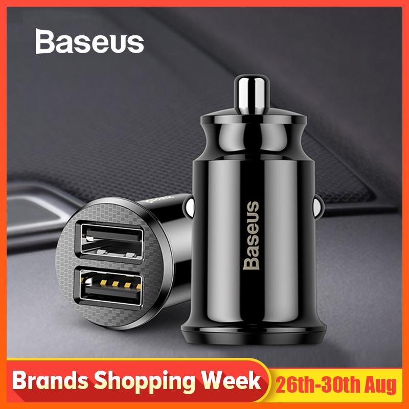 Baseus Usb-Socket-Adapter Car-Accessory Fast-Charger Usb-Phone 2-Port Dual-Usb 12V