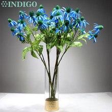 5pcs 5 Heads Blue Gerbera Daisy Sunflower Artificial Silk Wedding Flower Home Decorative Flower Event  Free Shipping 3 in 1 cake veined sunflower gerbera daisy plunger cutter