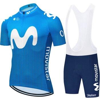 Movistar-Jersey deportivos para ciclista profesional, camisa de secado rápido con pantalones cortos...