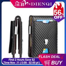Dienqi rfid мужские бумажники из углеродного волокна держатель