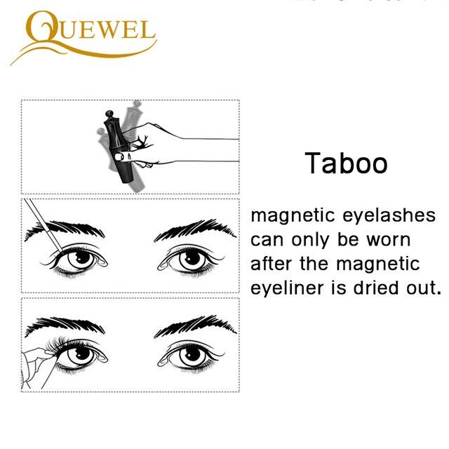 Quewel Magnetic Eyelashes Eyeliner Set 25mm False Eyelash & Magnetic Eyeliner & Tweezers 4 Pairs/Box Convenient Long Makeup Kit 3