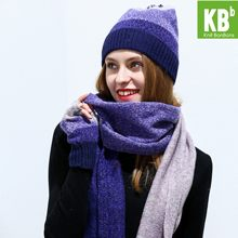 2019 KBB Lambswool Wool Knit Knitted hat scarf women Winter Warm scarf Beanie Gloves Scarf female Scarves Set Bundle Sets(China)