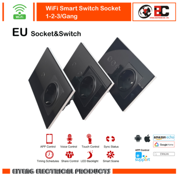 Wifi smart Switch with EU Standard Socket Remote Control Work with Google home Amazon Alexa 1 2 3 Gang 1 Way  Wifi touch Switch eu standard wall switch with socket touch switch with eu germany wall socket hot sale