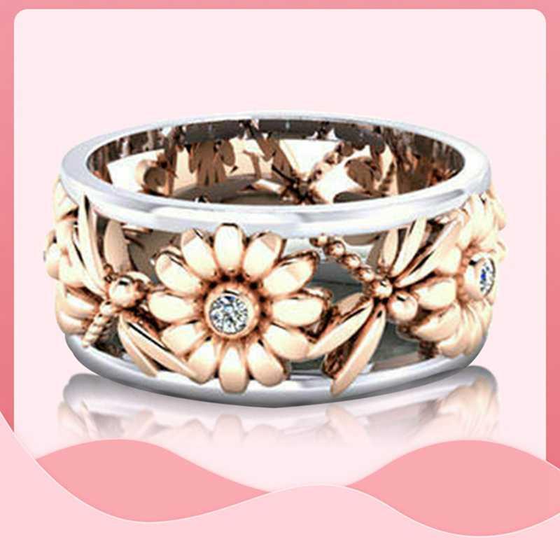 1 pc girassol crisântemo anel de ouro rosa tira dupla cor zircão cúbico anel para mulher senhora noivado casamento jóias