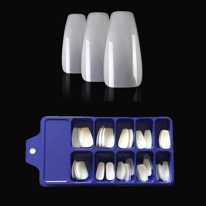 100Pcs Clear Natural Falseเล็บเคล็ดลับสั้นArt Coffin Artเคล็ดลับแบนFullปลอมขยายเล็บเล็บเครื่องมือ