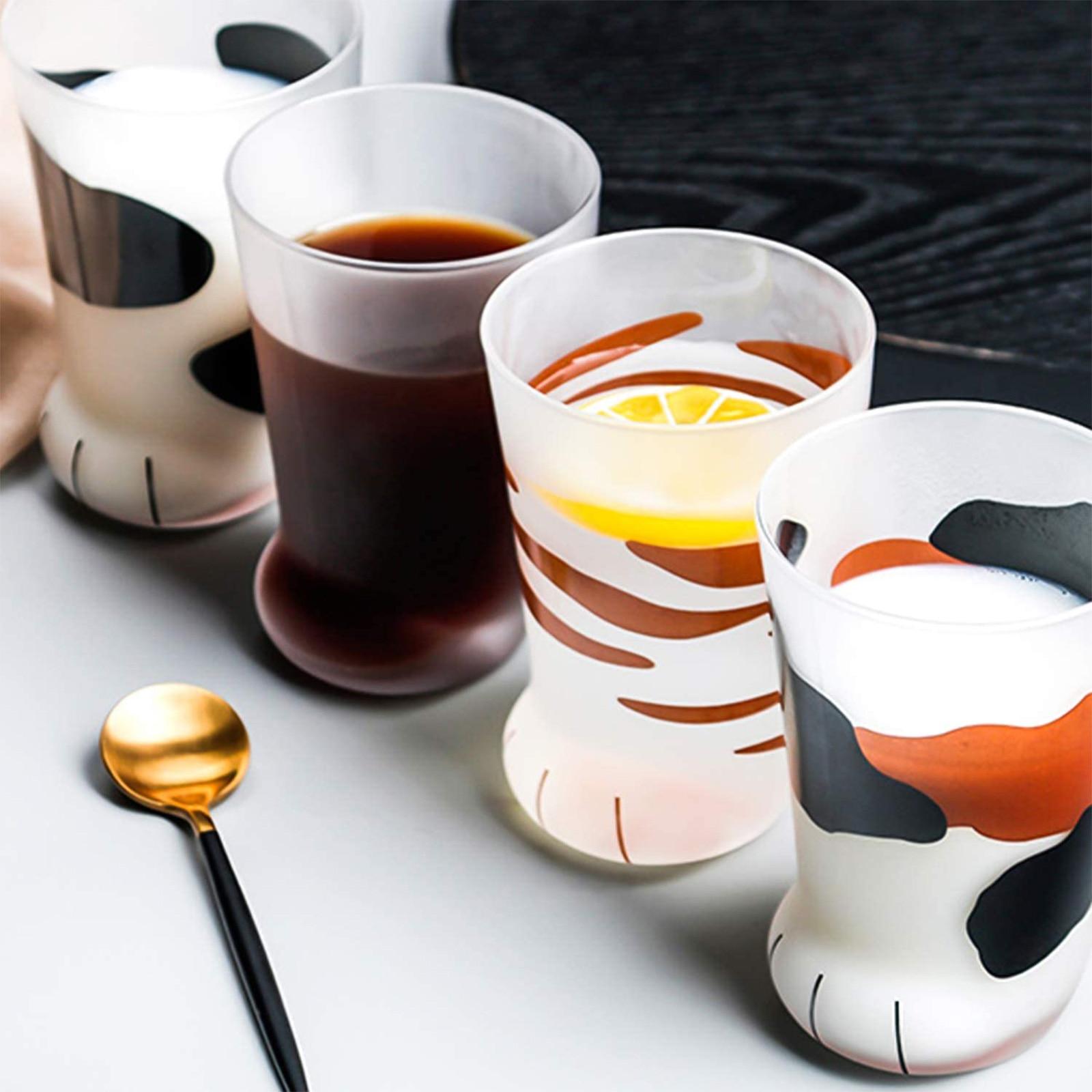 Criativo gato garra copo café da manhã copo de leite copo de vidro personalidade fosco copo de vidro canecas de leite de vidro copo de suco de limão para homens|null|   -