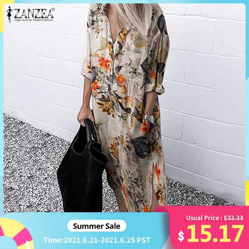 ZANZEA 2021 Retro Printed Shirt Dress Women's SundressAutumn  Casual Long Sleeve Midi Vestidos Female Button Robe Plus Size 5XL