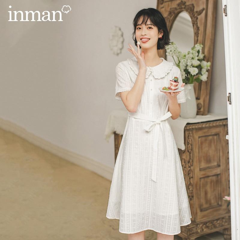INMAN 2020 Summer New Arrival Lace-up Waist Slimmed Sweet Peter pan Collar Hollow Out Short Sleeve Dress