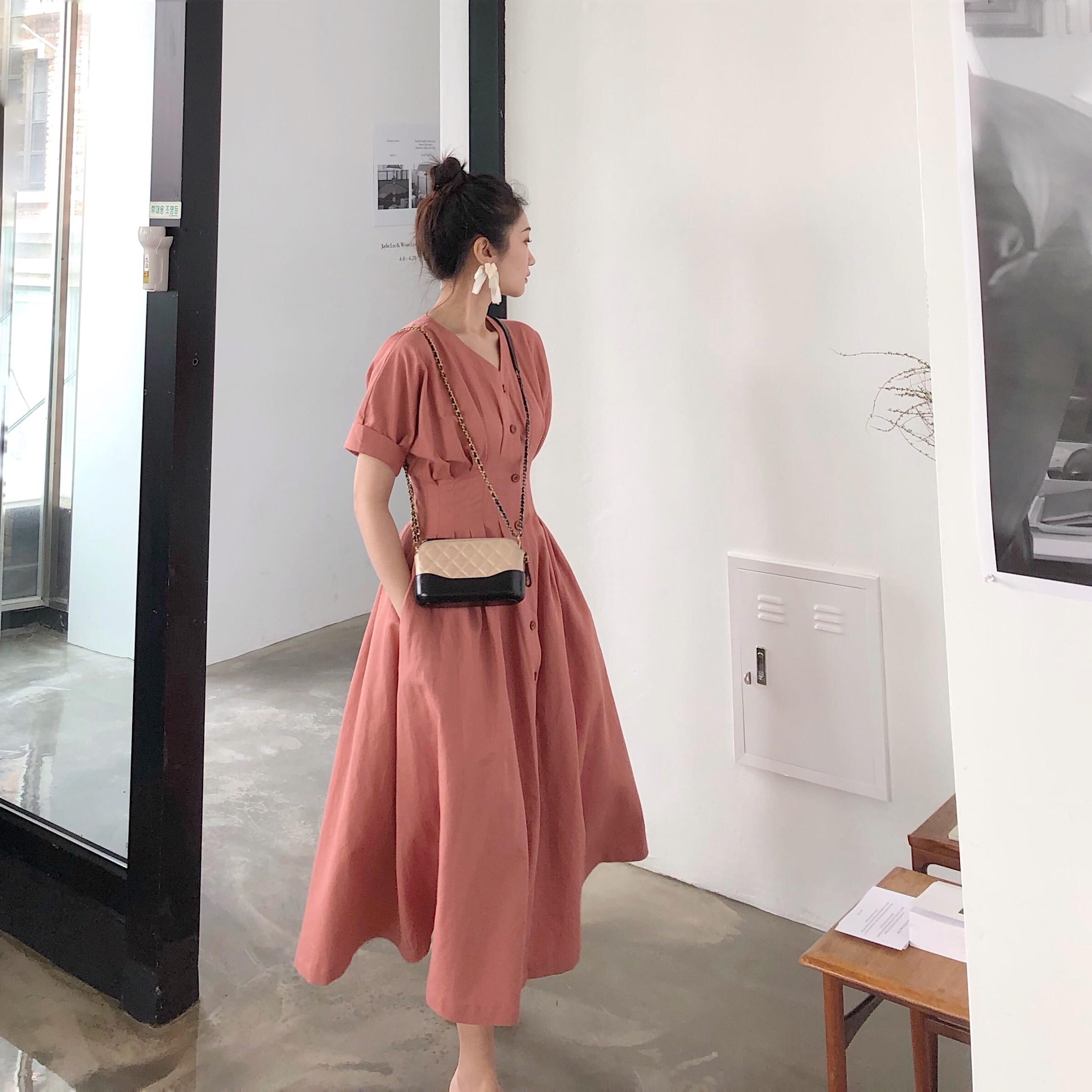 2019 femmes d'été Vintage Style français robes Slim bande taille bouton avant v-cou lin rétro vacances robe