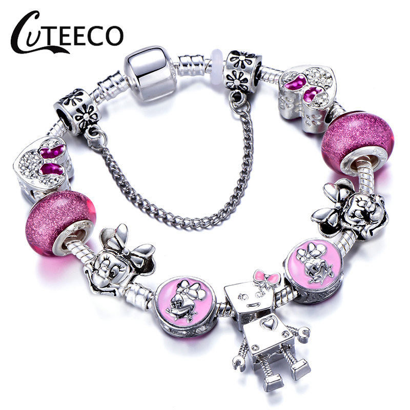 CUTEECO Silver Charm Bracelet Girl Cute Bella Robot Chain Pink Mickey Minnie Mouse Bead Brand For Women Jewelry