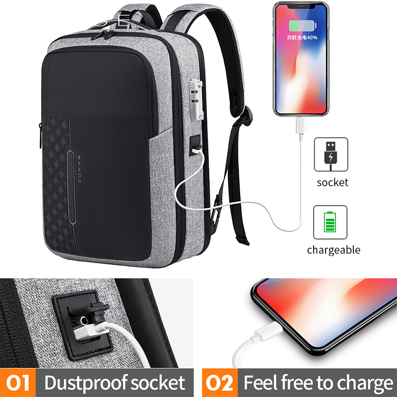 Bange Men Business Backpack Multifunction USB Charging 15.6 Inch Anti Thief Laptop Bag Large Capacity Waterproof Travel Bags