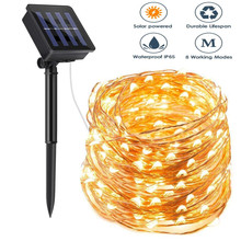 Lamps Fairy-Lights Christmas-Decoration Solar-String Flashing Outdoor Led Waterproof