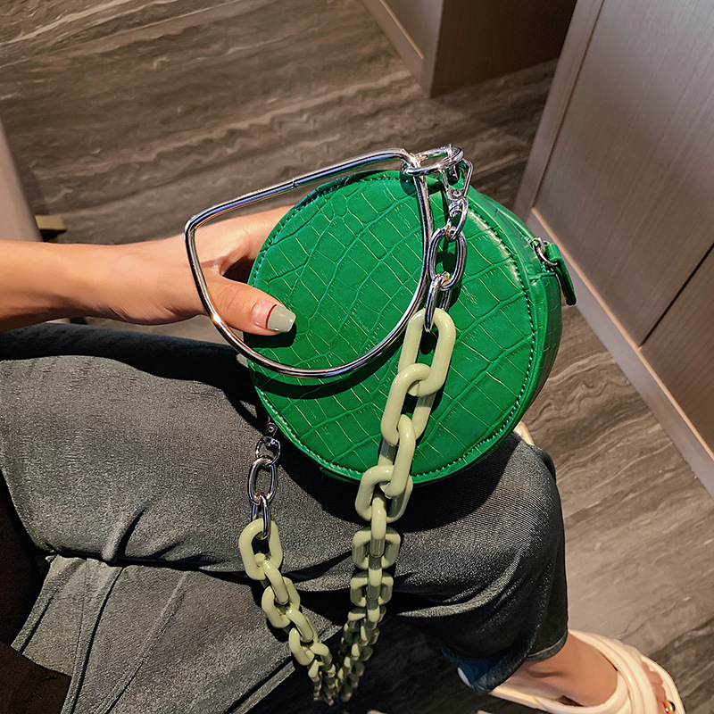 Fashion Acrylic Chain Round Women Shoulder Bags Designer Metal Handle Handbags Luxury Pu Stone Crossbody Bag Summer Small Purses