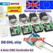 Kit de routeur CNC 4 axes! Pilote et panneau dinterface et 4 pièces, moteur pas à pas Nema23 270oz in, alimentation électrique 350W, 4 pièces, 1 axe, TB6560