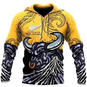 New zealand taranaki maori bull 3D Print Hoodie Man Women Harajuku Outwear Zipper Pullover Sweatshirt Casual Unisex Jacket