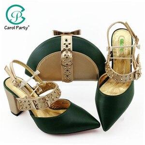 Image 1 - Yüksek kaliteli yeşil renk afrika tasarım ayakkabı ve çanta seti İtalyan tasarım parti ayakkabıları eşleşen çanta ile Set