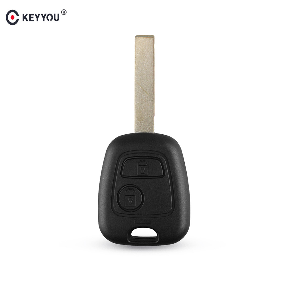 KEYYOU For Citroen C1 C2 C3 C4 XSARA Picasso For Peugeot 307 107 207 407 Car Remote Key Shell Fob Case 2 Buttons Uncut Blade image