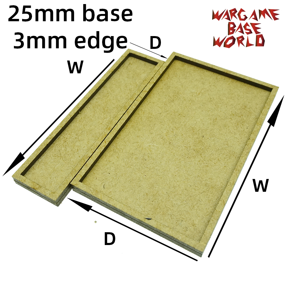 Wargame Base World - MDF Wargame Movement Tray - 25mm Bases With 3mm Edge